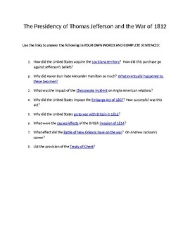 The Presidency of Thomas Jefferson/War of 1812 Web Quest