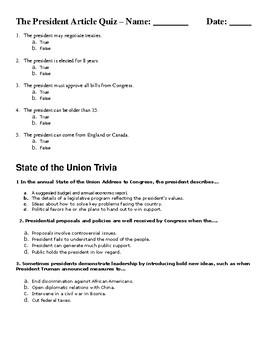 The President Article and Quiz about the article