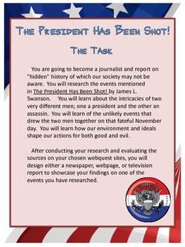 The President has been Shot! Webquest Packet (Bonus Novel Quiz!)