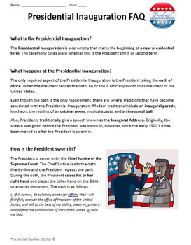 The Presidential Inauguration (Lesson Plan + Reader + Worksheet with Graph!)