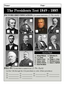The Presidents: 1849-1885 Test