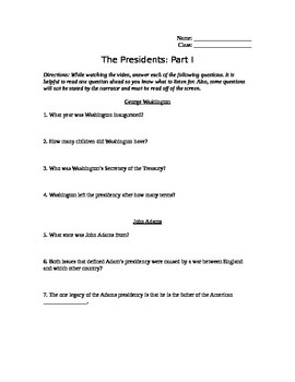 The Presidents Part 1 Video Guide: George Washington to James Monroe