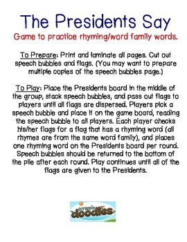 The Presidents Say Word Family Game