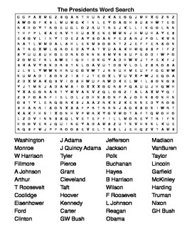 The Presidents and the Dates they Served Crossword & Word Search