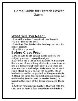 The Preterite Basket Game (Spanish)