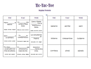 The Preterite Tense Tic-Tac-Toe Games