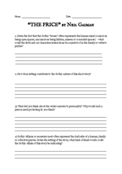 The Price - Gaiman - Worksheet with questions, short story