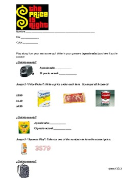 The Price is Right- Activity Packet