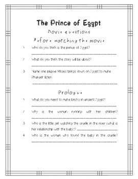 The Prince Of Egypt movie questions and activities
