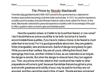 The Prince by Machiavelli Activity