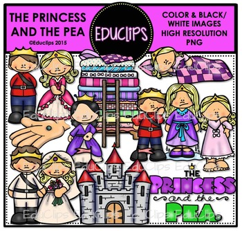 The Princess And The Pea Clip Art Bundle