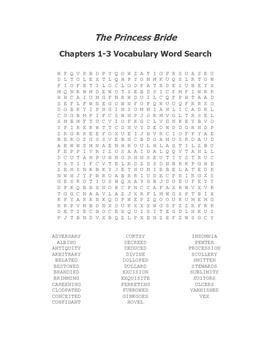 The Princess Bride Ch. 1-3 Vocabulary Word Search - Goldman