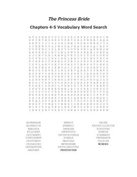 The Princess Bride Ch. 4-5 Vocabulary Word Search - Goldman