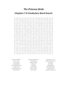 The Princess Bride Ch. 7-8 Vocabulary Word Search - Goldman