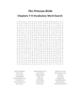 The Princess Bride Ch. 7-8 Vocabulary Word Search - Goldman