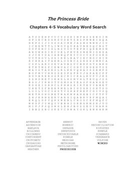 The Princess Bride Vocabulary Word Search Packet (Ch 1-8) - Goldman