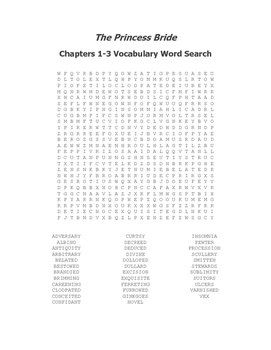 The Princess Bride Vocabulary Word Search Packet (Ch 1-8)