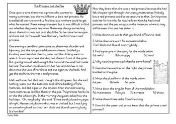 The Princess and the Pea Comprehension and Language Skills Grade 3