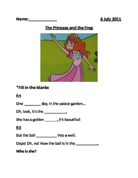 The Princess and the frog worksheet
