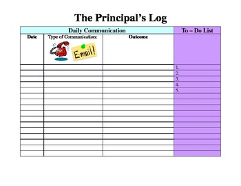 The Principal's Log: Daily Communication & To - Do
