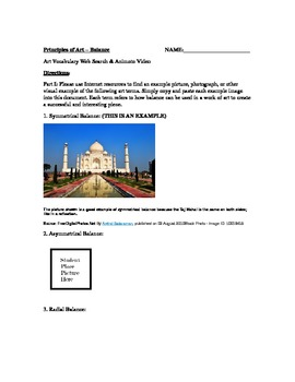 The Principles of Art Series (Worksheet and Animoto) - Balance