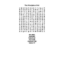 The Principles of Art Word Search Word Finder Puzzle Activity Lesson Substitute