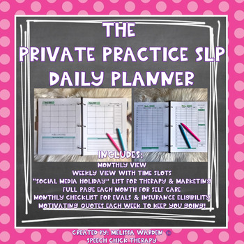The Private Practice SLP Daily Planner