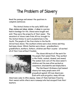 The Problem of Slavery Reading Passage with Questions