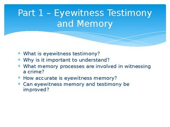 The Problem with Eye Witnesses - PowerPoint