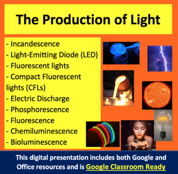 The Production of Light - Optics PowerPoint Lesson & Stude