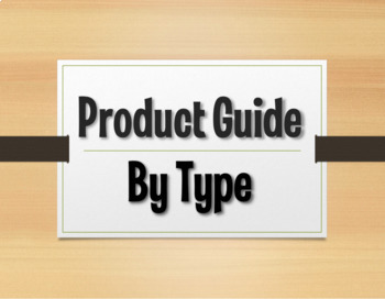 The Profe Store LLC Product Guide by Type