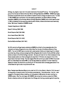 The Progressive Era - Women's Movements Lecture I-II