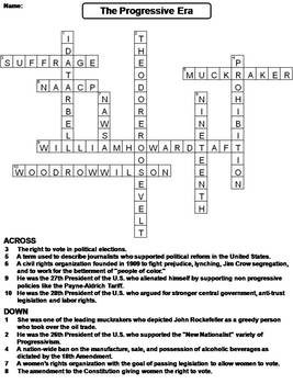 the progressive era worksheet crossword puzzle by science spot tpt. Black Bedroom Furniture Sets. Home Design Ideas