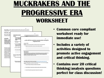 the progressive era and the muckrakers worksheet us history apush common core. Black Bedroom Furniture Sets. Home Design Ideas