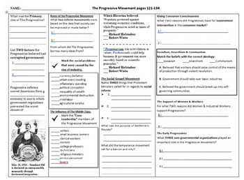 The Progressive Movement 3 Page Worksheet for The Gateway to U.S History Book