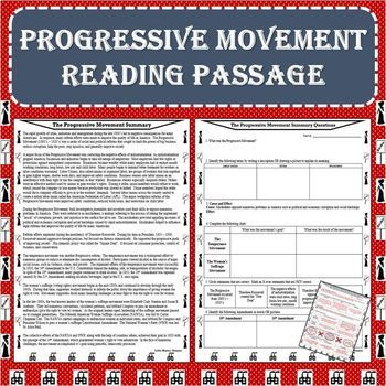 The Progressive Movement Era Reading Passage with Response Worksheet