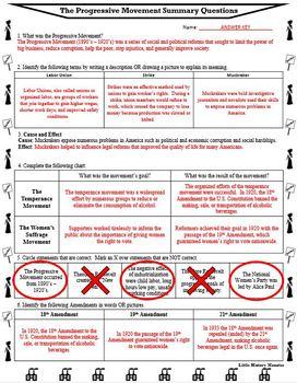 The Progressive Movement Era Reading Passage with Response Worksheet