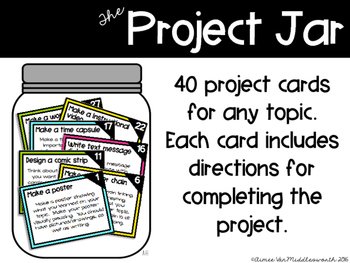 The Project Jar:  Project Task Cards for Any Topic (EDITABLE)