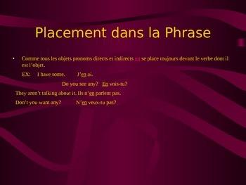 The Pronom Object EN in French