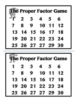 The Proper Factor Game