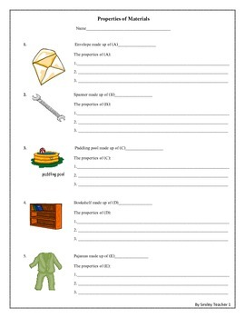 Free The Properties of Materials Worksheet