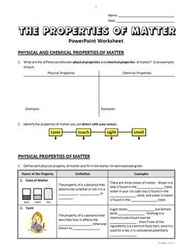 properties of matter powerpoint worksheet editable by tangstar science. Black Bedroom Furniture Sets. Home Design Ideas