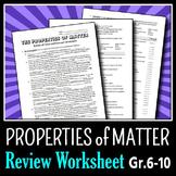 Properties of Matter - Review Worksheet {Editable}