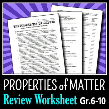 properties of matter review worksheet editable by tangstar science. Black Bedroom Furniture Sets. Home Design Ideas