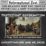 The Protestant Reformation--Informational Text Worksheet