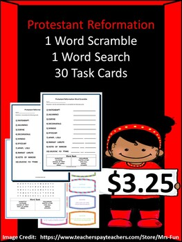 Protestant Reformation Bundle- 30 Task Cards, 1 Word Scramble & 1 Word Search