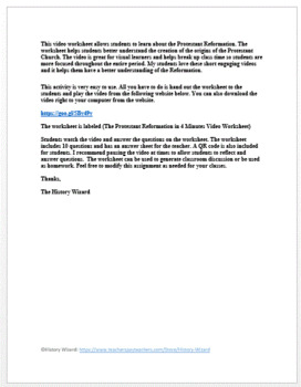The Protestant Reformation in 4 Minutes Video Worksheet
