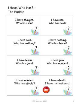 """The Puddle """"I HAVE, WHO HAS?"""" Sight Word Practice for Harcourt Trophies"""