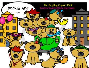 The Pug Bug Clipart Pack
