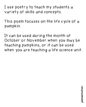 The Pumpkin Life Cycle Poem